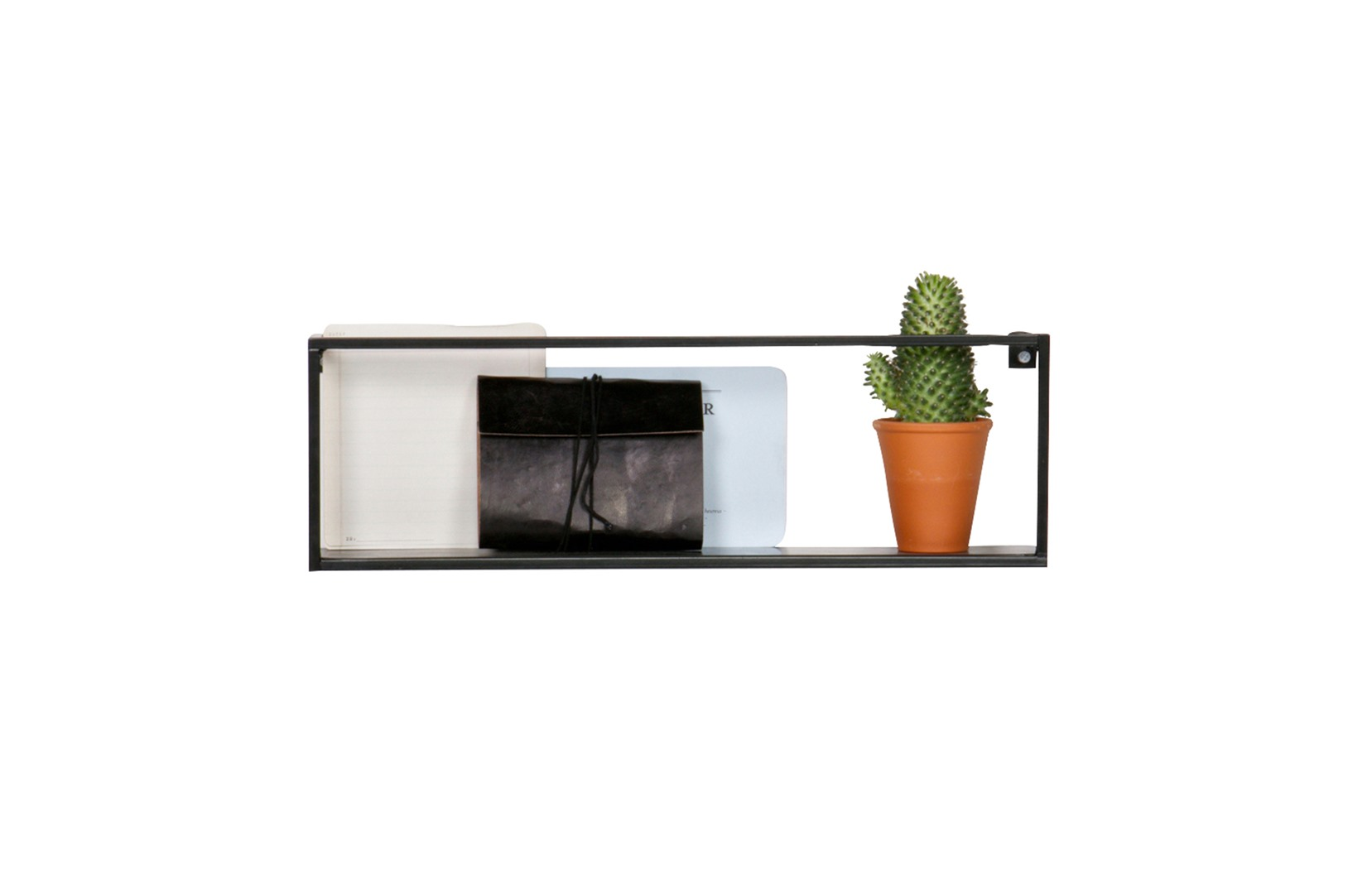 Wandplank Zwart Metaal Hout.Wandplank 50cm Zwart Metaal Krea