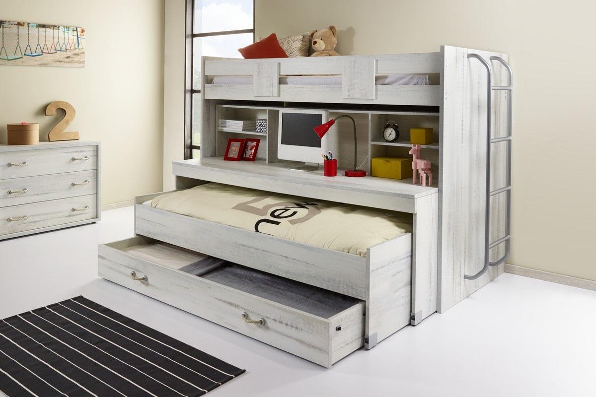 Hoogslaper groot bureau bed op wieltjes excl bedlade krea