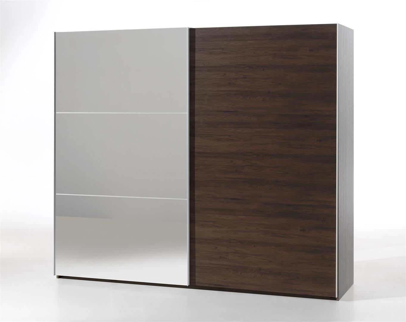 Kleerkast Met Spiegel : Kleerkast cm schuifdeuren spiegel in noot krea