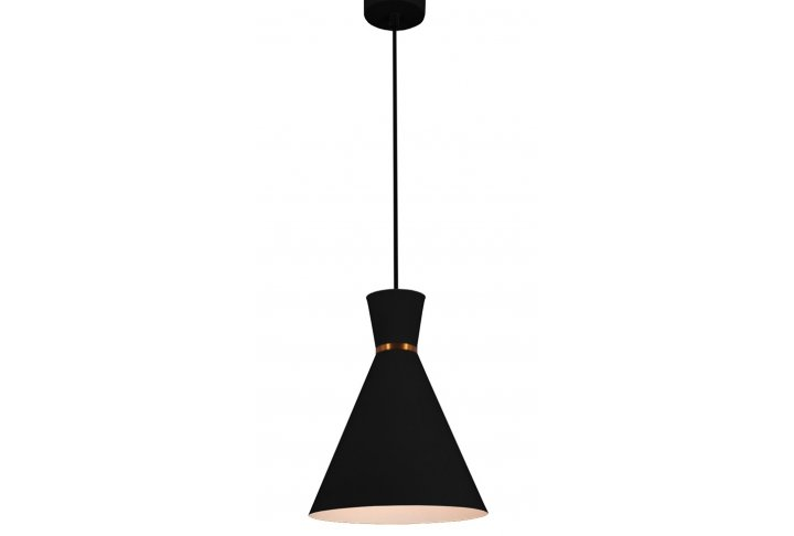 Hanglamp kono rond 25cm zwart/wit