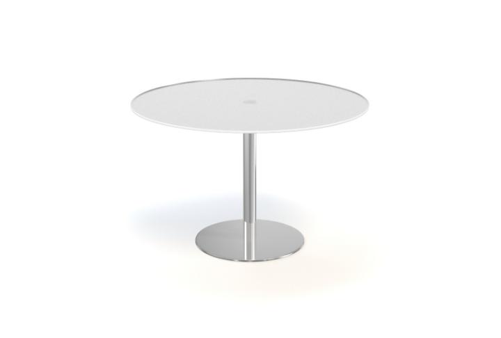 Tafel rondo glas mat wit krea