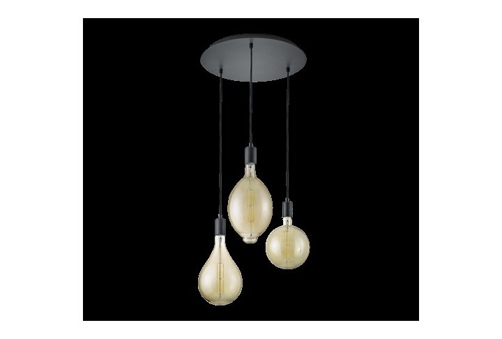 Hanglamp ginster 3 lichts rond zwart