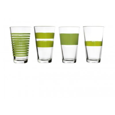 Hoog waterglas groen stripes salt and pepper