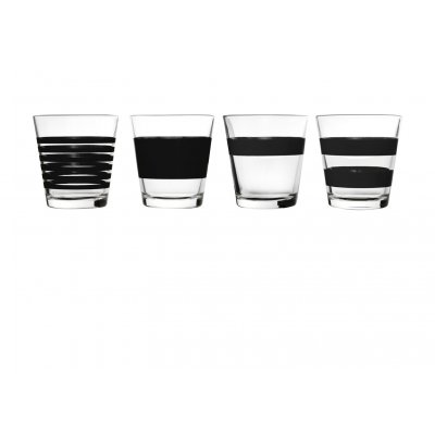 Whisky / laag waterglas zwart stripes salt and pepper