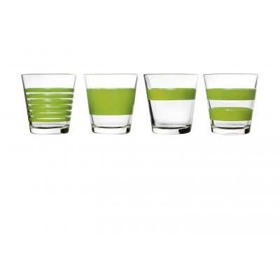 Whisky / laag waterglas groen stripes  salt and pepper