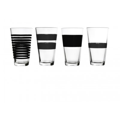 Hoog waterglas  zwart stripes salt and pepper