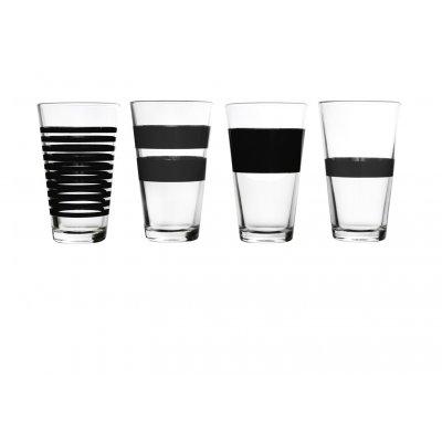 Hoog waterglas stripes zwart (set v 4)