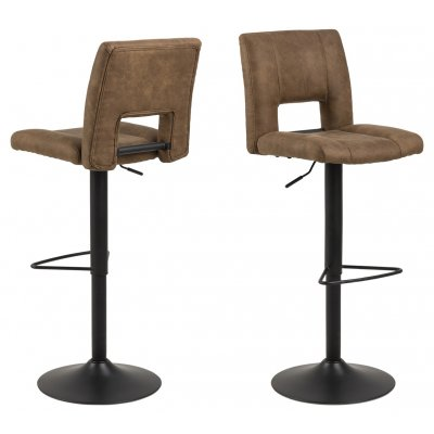 Barstoel - zitting: bruin / onderstel: zwart