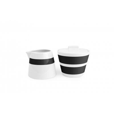 Melk en suikerpot stripes zwart