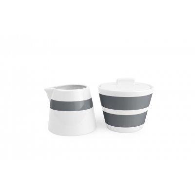 Melk en suikerpot stripes grijs