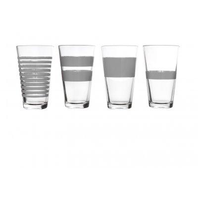 Hoog waterglas stripes grijs (set v 4)