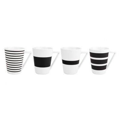 Beker stripes zwart (set v 4)