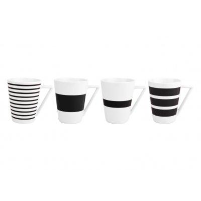 Beker stripes zwart (set v 4)