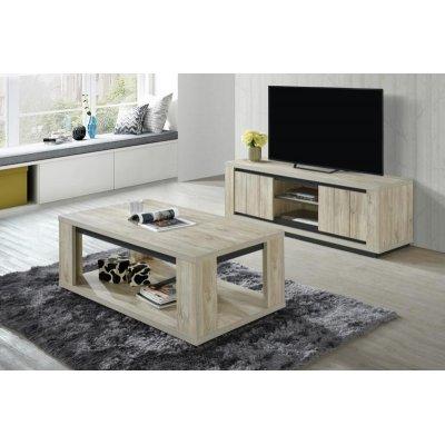 Tv-meubel met 2 deuren en 2 open vakken (beach oak)