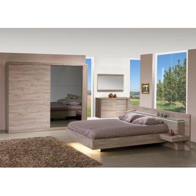 Bed houtkleur (incl 2 nachttafels + verlichting + dwarslatten) - 160x200
