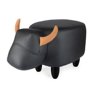Poef koe zwart leder