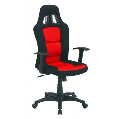 Bureaustoel zwart/rood met armleuningen