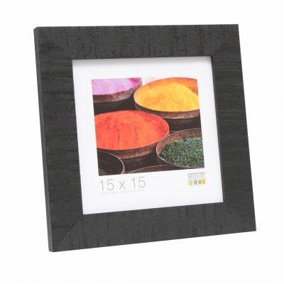 Fotokader zwart ruw hout 13x13cm