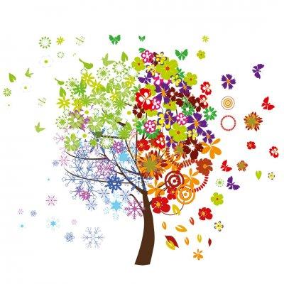 Deko sticker : 4 seizoenen boom (50x70)