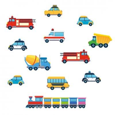 Deko sticker: kleurrijke voertuigen
