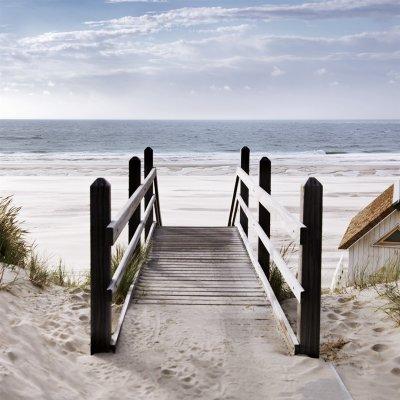 Glaskader strand en zee  (20x20)