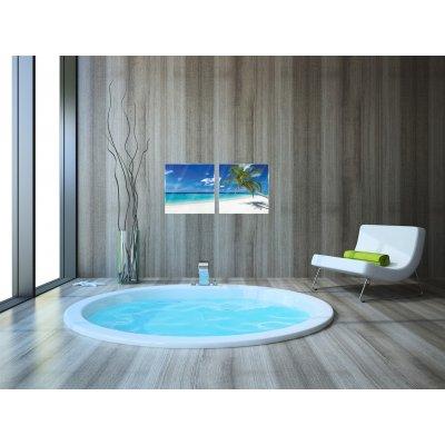 Glaskader zee en strand (set van 2) (20x20)