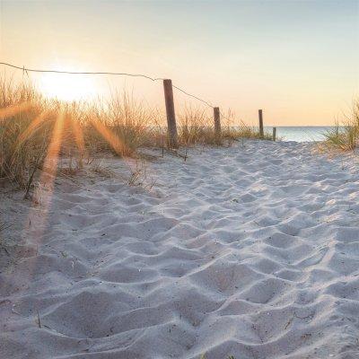Glaskader zonsondergang strand (30x30)