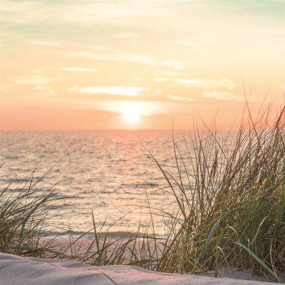 Glaskader zonsondergang zee (20x20)