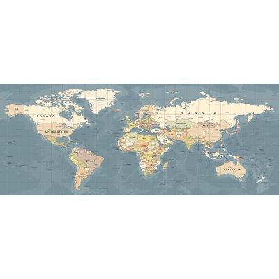 Glaskader wereldkaart (50x125)