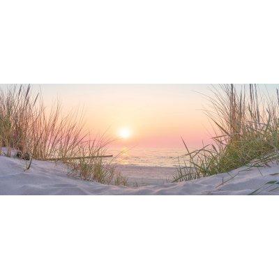 Glaskader zonsondergang zee (50x125)