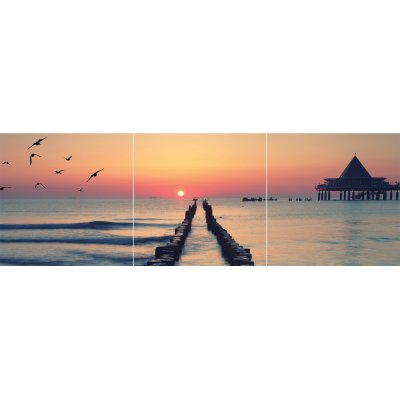 Glaskader zonsondergang (set van 3) (30x30)