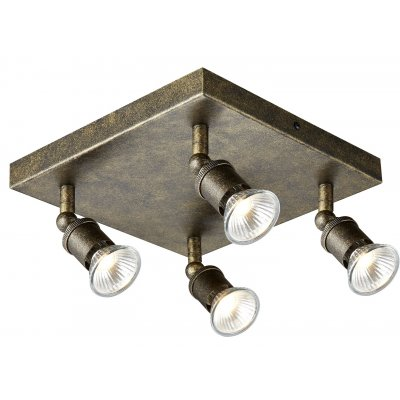 Stuga square plafondlamp spot staal incl 4xg10 5w led dimbaar