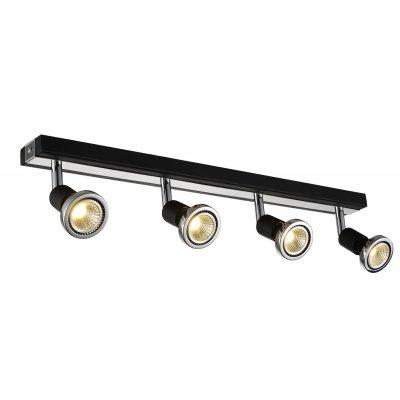 Robus plafondlamp spot 4 zwart incl.led 4 x gu10 5w