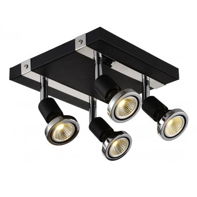 Robus plafondlamp square spot 4 zwart incl.led gu10 5w