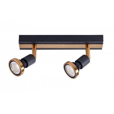 Plafondlamp robus-2 zwart/brons (incl. led)