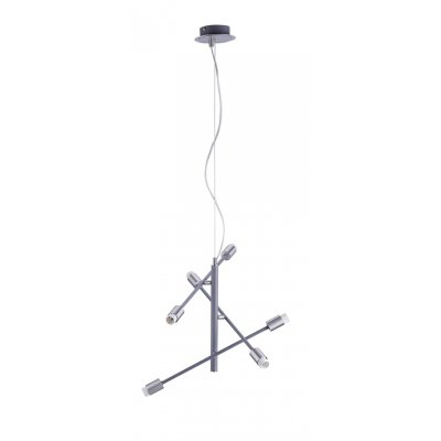 Hanglamp 6 lichts grijs mat/nikkel mat exclusief kapje