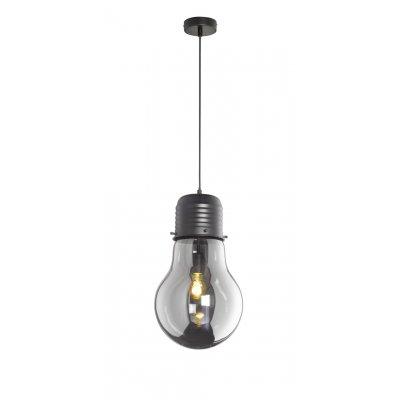Hanglamp louis zwart mat/gerookt glas