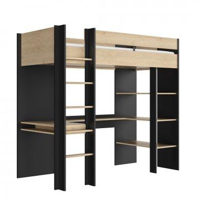 Hoogslaper hout/zwart - 120x200