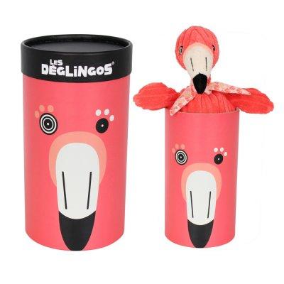Doosje met knuffel flamingo