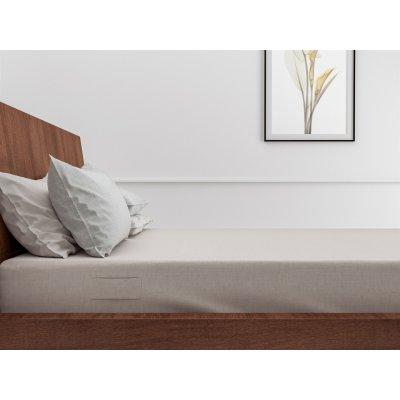 Hoeslaken lino sandy beige tweepersoons katoen (160x200)
