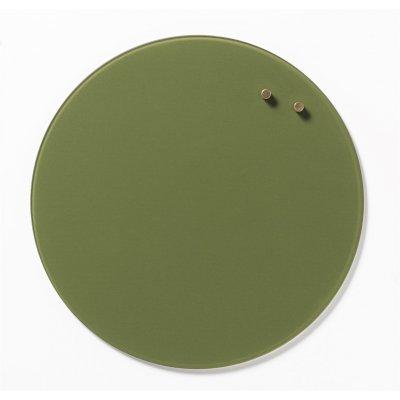 Magneetbord cirkel glas olijfgroen (diam. 35cm)