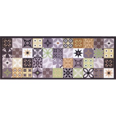Voetmat deco style tegels antraciet/groen 45x75cm