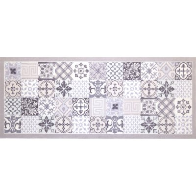 Voetmat deco style tegels grijs/licht blauw 45x75cm