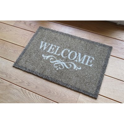 Deco soft entree voetmat welcome bruin