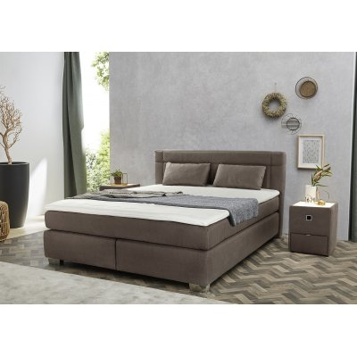 Boxspring donkerbruin (incl. topper, comfort: hard-hard) - 180x200