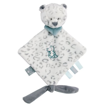 Mini knuffeldoek lea, het sneeuwluipaard