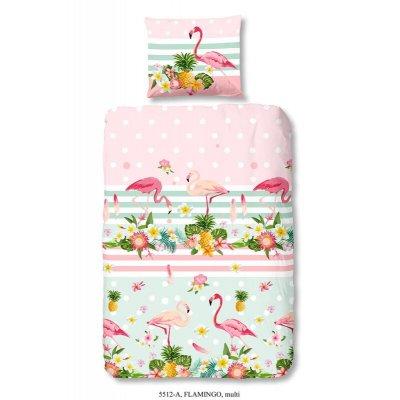 Overtrek eenpersoons flamingo (140x220)