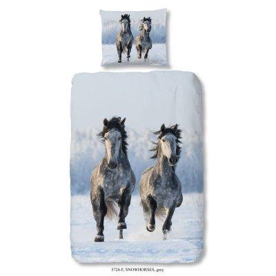 Overtrek horses éénpersoons flanel (140x220)