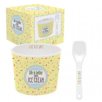 Ice cream bowls + lepel geel
