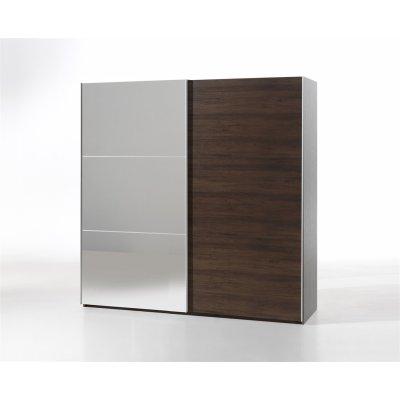 Kleerkast 200cm (2 schuifdeuren) + spiegel in noot